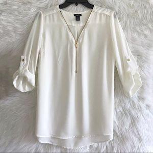 Rue 21 shirt 3/4 sleeve white gold size Large